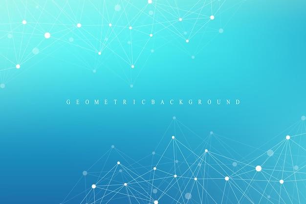 Molecola di sfondo grafico geometrico e comunicazione.