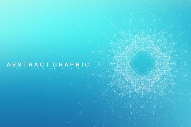 Molecola di sfondo grafico geometrico e comunicazione