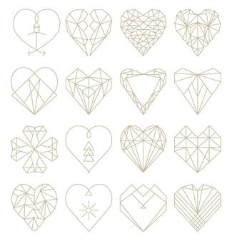Collezione di forme geometriche del cuore set di loghi del cuore in icone e simbolo del logo del cuore di vettore