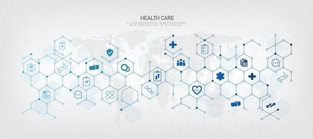 Fondo geometrico di esagono concetto medico con l'icona di vettore di esagono interconnesso. eps. 10 immagini vettoriali.