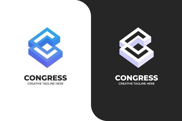 Logo di architettura della costruzione della lettera c geometrica