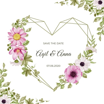 Forma geometrica dell'amore con bellissimi fiori rosa e acquerello foglia verde