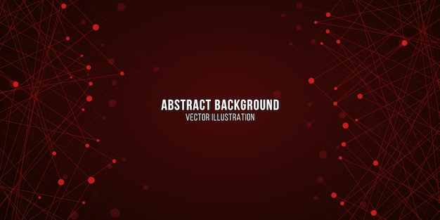 Plesso geometrico luminoso. astratto sfondo futuristico. struttura molecolare incandescente rossa.