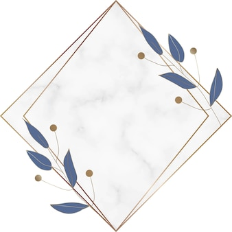 Cornice geometrica in marmo con foglie blu