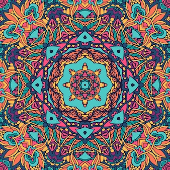 Stampa in stile boho psichedelico a medaglione geometrico.