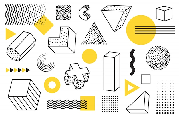 Elementi di stile geometrico e memphis