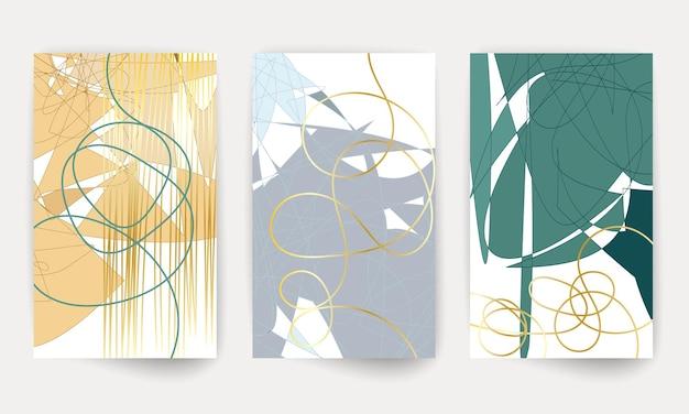 Arte moderna geometrica. poster colorato con forme geometriche. set di volantini con copertina astratta.