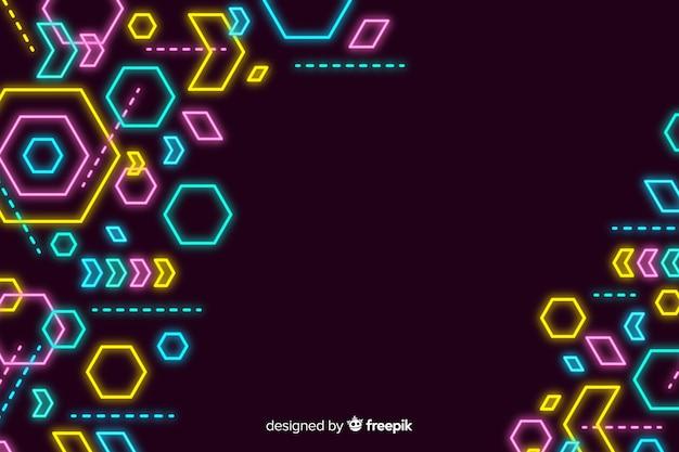 Sfondo decorativo di forme geometriche al neon Vettore Premium