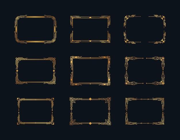 Bordi decorati geometrici e elementi di cornici in stile retrò anni '20 di lusso