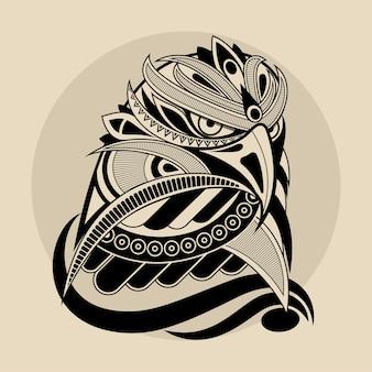Illustrazione della testa dell'aquila di stile della linea in bianco e nero con motivi geometrici