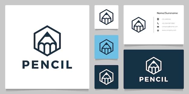 Design del logo esagonale dell'accademia di formazione della matita geometrica con stile di arte al tratto