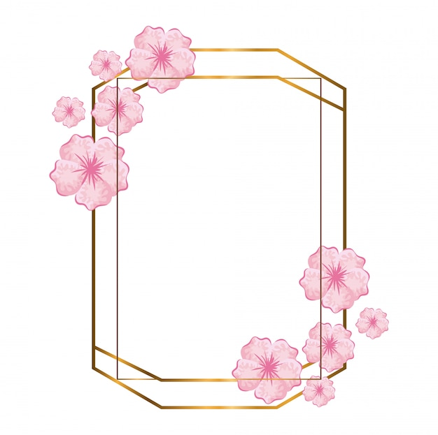 Cornici poligonali geometriche con linee e foglie dorate