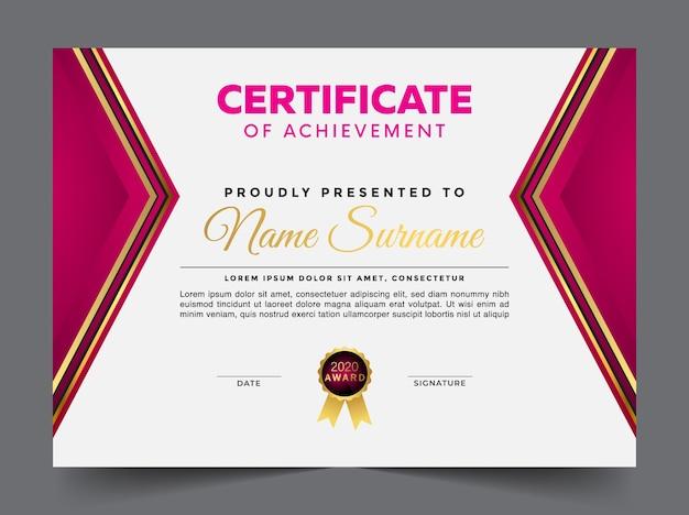 Modello di diploma certificato multiuso premium geometrico