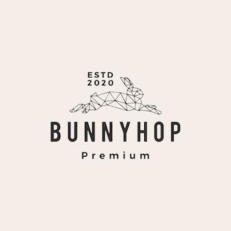 Illustrazione d'annata dell'icona di logo dei pantaloni a vita bassa del coniglietto del coniglio geometrico
