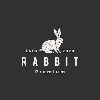 Illustrazione d'annata dell'icona di logo dei pantaloni a vita bassa del coniglietto geometrico della lepre del coniglio