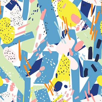 Motivo geometrico senza cuciture con vibranti segni astratti caotici, punti, scarabocchi, macchie