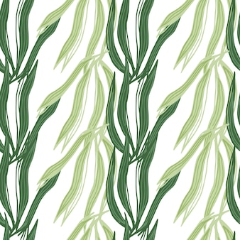 Modello senza cuciture di alghe geometriche isolato su priorità bassa bianca. carta da parati con piante marine. sfondo di fogliame subacqueo. design per tessuto, stampa tessile, avvolgimento, copertina. illustrazione vettoriale.