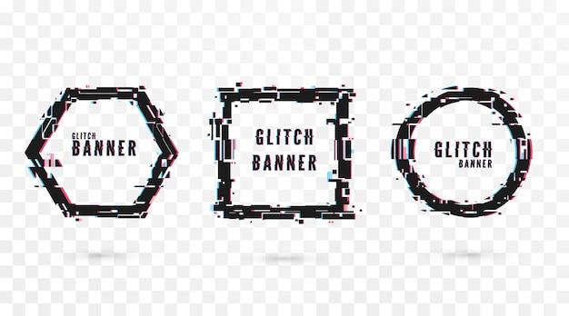 Banner di forma geometrica con effetto glitch. modello moderno di poster e flyer di tecnologia digitale. isolato su sfondo trasparente