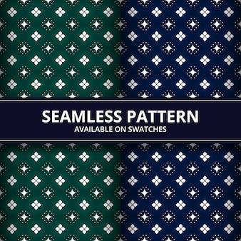 Carta da parati senza cuciture del fondo del modello del batik di forma geometrica nel colore verde e blu scuro