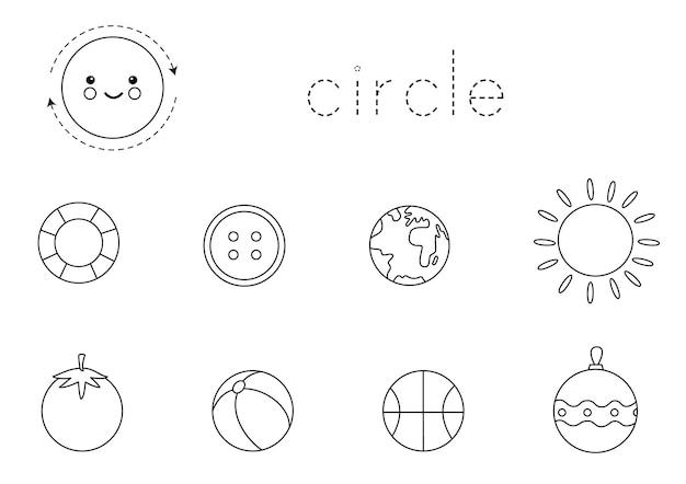 Forme geometriche per bambini. cerchio. foglio di lavoro in bianco e nero per l'apprendimento delle forme.