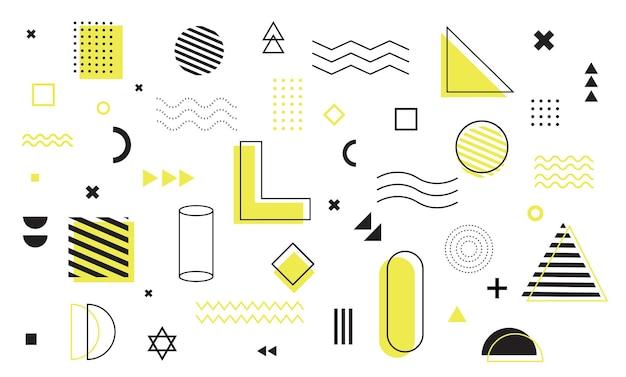 Insieme di forme geometriche di elementi di design di memphis per manifesti volantini riviste banner cartelloni