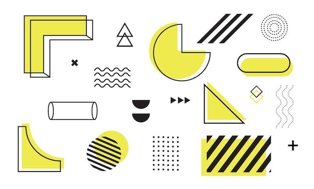 Insieme di forme geometriche di elementi di design memphis per banner rivista volantino poster