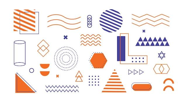Forme geometriche set di memphis universal trend 80 stile anni '90
