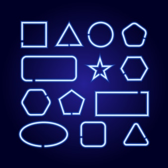 Le forme geometriche impostano quadrato, cerchio, stella, triangolo, rettangolo, esagono, ellisse dalle linee di luminescenza al neon blu incandescente su sfondo blu scuro classico.