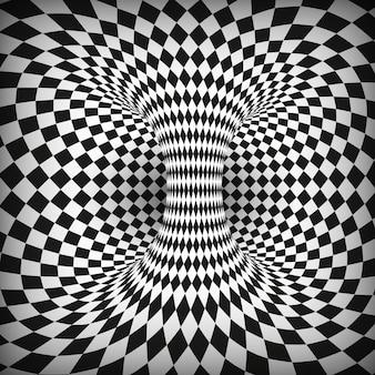Illusione ottica quadrata geometrica in bianco e nero