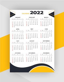 Modello di progettazione del calendario professionale 2022 in stile geometrico