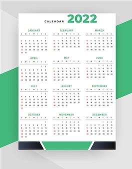 Modello di progettazione verde del calendario professionale 2022 in stile geometrico