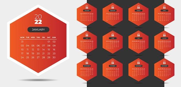 Modello di design giallo calendario professionale 2022 in stile geometrico