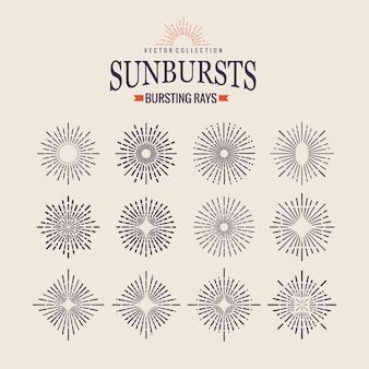 Raggi di sole geometrici in diverse forme