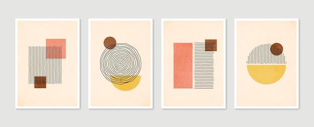 Insieme alla moda geometrico di manifesti contemporanei disegnati a mano minimalisti estetici astratti