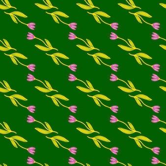Reticolo senza giunte del fiore di tulipano geometrico su priorità bassa verde.