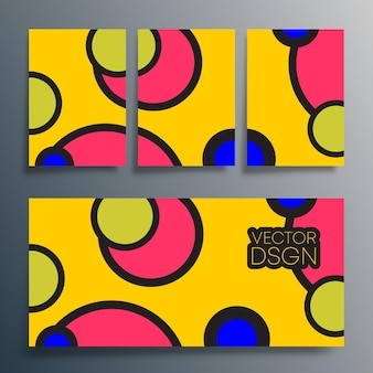 Tipografia geometrica con design a cerchi colorati per poster, volantini, copertine di brochure o altri prodotti di stampa. illustrazione vettoriale.