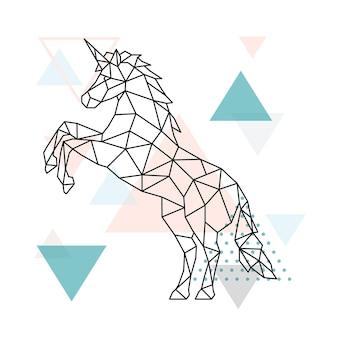 Disegno geometrico dell'unicorno