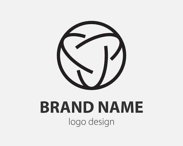 Logo vettoriale geometrico in un cerchio. logotipo in stile high tech per nanotecnologie, criptovalute e applicazioni mobili in un design semplice e lineare.