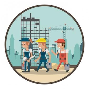 Cartoni animati lavoratori geometrici