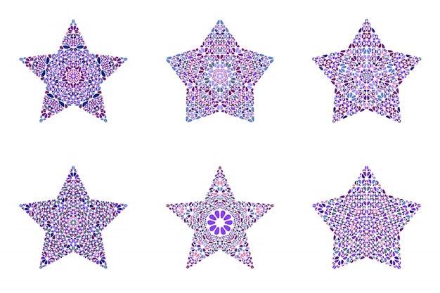 Insieme di modelli di stella floreale isolato geometrico del mosaico
