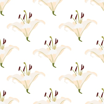 Modello senza cuciture geometrico giglio in stile retrò. bella carta da parati floreale.