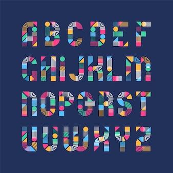 Carattere latino di forme geometriche, linee e blocchi di colore, tipo decorativo grafico pop art.