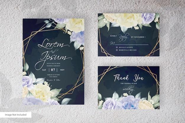 Invito a nozze geometrico con acquerello floreale