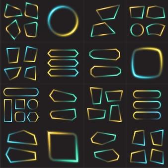 Cornice di geometria impostata con sfumatura blu e giallo