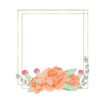 Le cornici dorate della geometria con la mano dell'acquerello disegnano rami di foglie verdi e rose