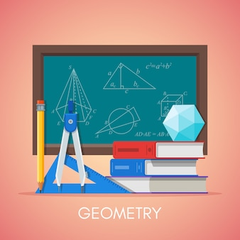 Manifesto di concetto di educazione scientifica della geometria nella progettazione piana di stile. geometria e simboli matematici su una lavagna di scuola.