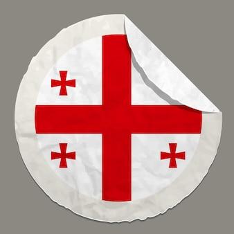 Simbolo della bandiera della georgia su un'etichetta di carta