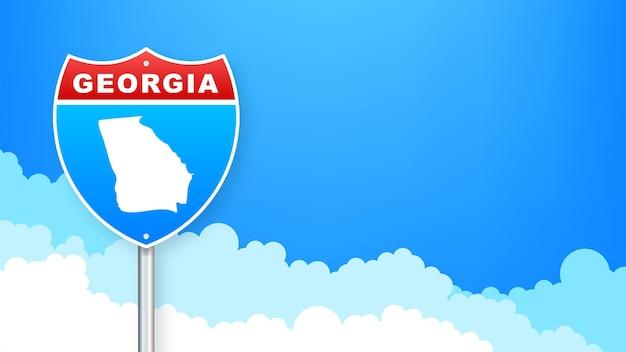 Mappa della georgia sul cartello stradale. benvenuti nello stato della georgia. illustrazione vettoriale.