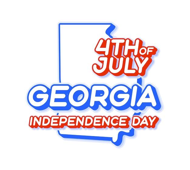Stato della georgia 4 luglio giorno dell'indipendenza con mappa e forma 3d a colori nazionali usa degli stati uniti