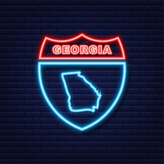 Icona al neon della mappa dello stato della georgia. illustrazione vettoriale.